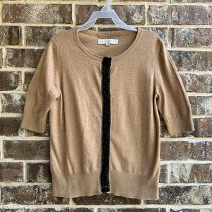 LOFT Button Up Front Short Sleeves Knit Cardigan